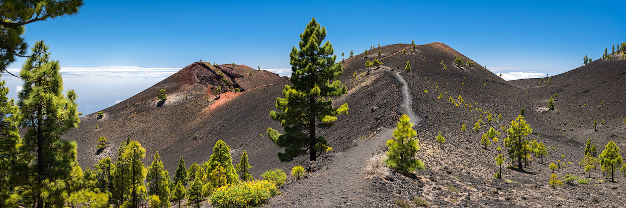 Hiking trail on the volcanoe crater in La Palma