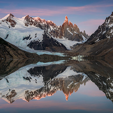 Reflection of Mount Cerro Torre on Lago Torre