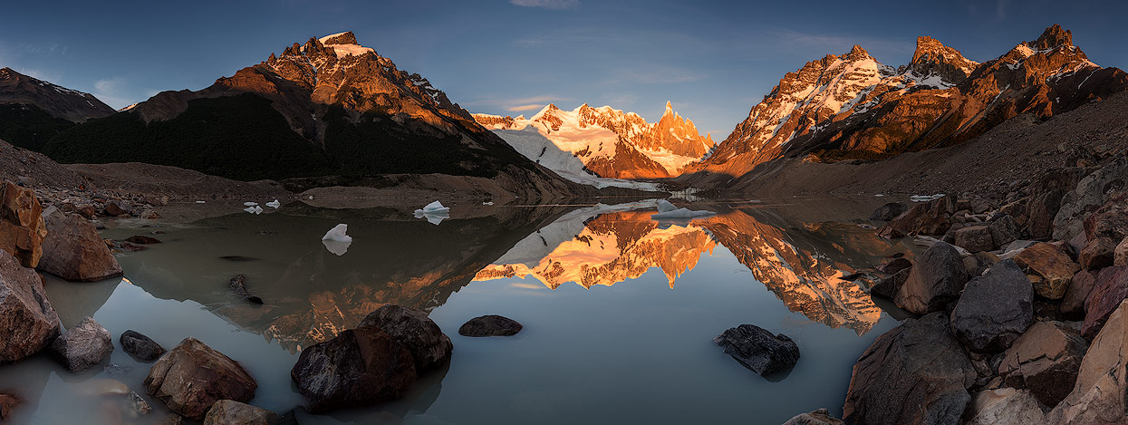 Sunrise with a perfect reflection of Mount Cerro Torre. Lago Torre is just a 10min walk from Camping de Agostini.