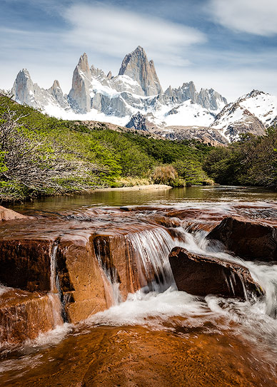 Hidden Falls with Fitz Roy in the Background